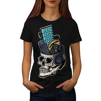 Skull Gaming PC Geek Women BlackT-shirt | Wellcoda