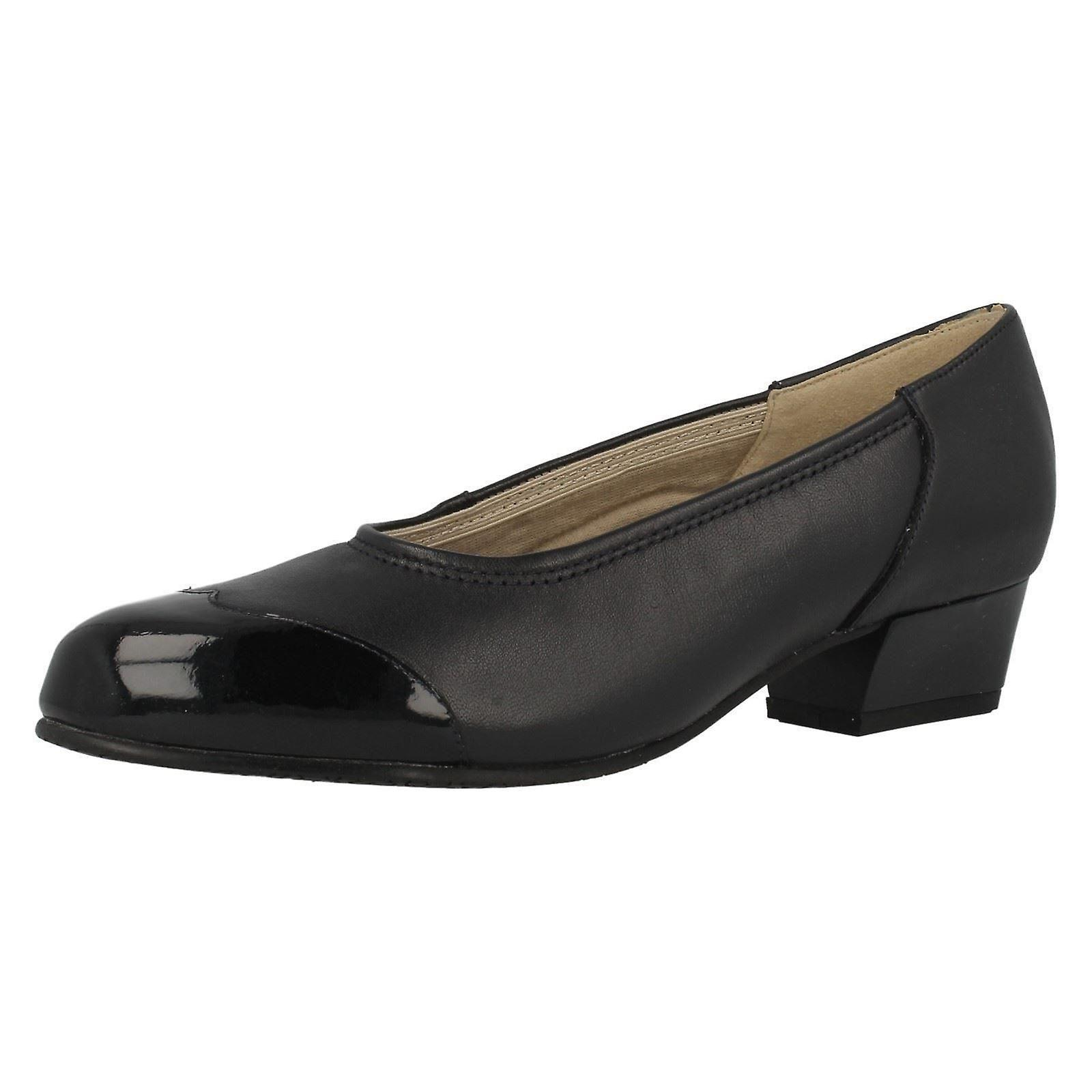 Ladies Equity Low Heel Wide Fitting Court Shoes Felicity
