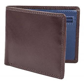Dents Smooth Leather Zip Coin Bifold Wallet - Chocolate/Cobalt Blue