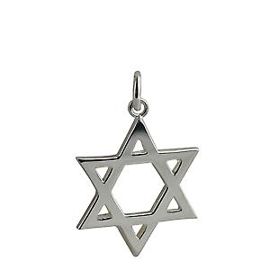 Silver 23mm plain Star of David Pendant
