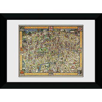 Transport For London Tapestry kaart frame af: drukken van de verzamelaar