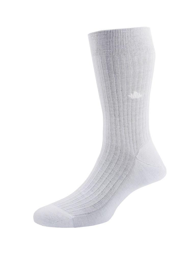 Cotton lisle tailored socks - white