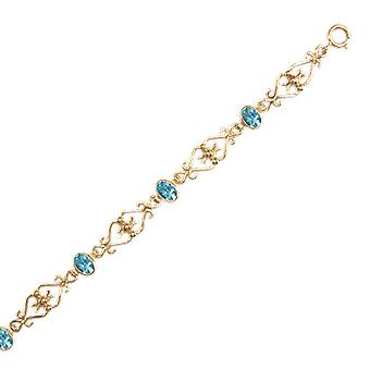 Shipton and Co Ladies Shipton And Co Exclusive 9ct Yellow Gold And Aquamarine Bracelet AY1753AQ