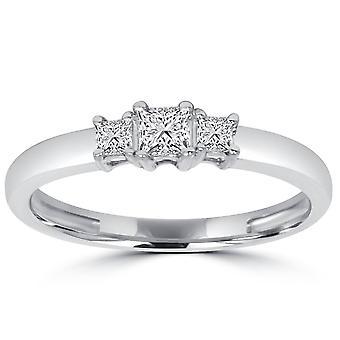 1 / 2ct tre sten Princess diamant Ring 14K vitt guld