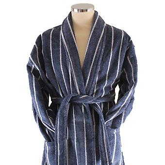 Bown of London Threadneedle Dressing Gown - Blue Melange/White