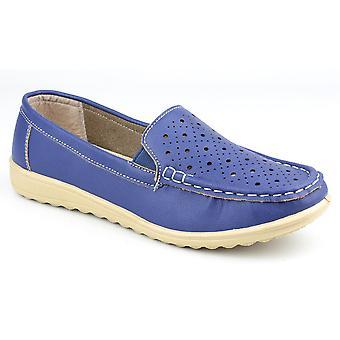 Amblers Ladies Cherwell Slip på Moccasin stilen sko blå