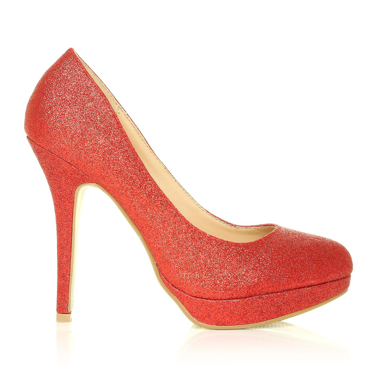 EVE Red Heel Glitter Stiletto High Heel Red Platform Court Shoes 6f5684