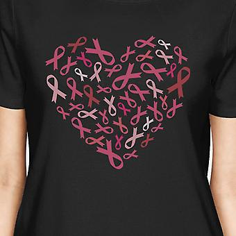 Pink Ribbon Heart Cancer Awareness Shirts For Women Black Cotton