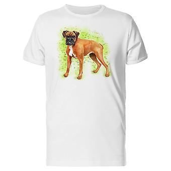 Green Background German Boxer Tee Men's -Image by Shutterstock