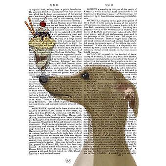 Greyhound Tan glace crème Poster Print par Fab Funky (13 x 19)