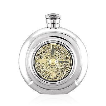 Celtic Golden Kell Brass Disc Round Pewter Flask B- 6oz