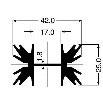 Pin heat sink 4 C/W (L x W x H) 50 x 42 x 25 mm TO 220, SOT 32 Fischer Elektronik SK 129 50,8 STS
