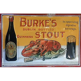 Burkes Stout (Guinness) præget stål underskrive 300 Mm X 200 Mm