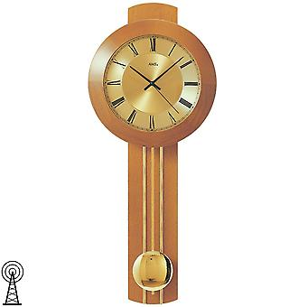 Radio controlled wall clock painted wall clock with pendulum radio solid wood cherry color