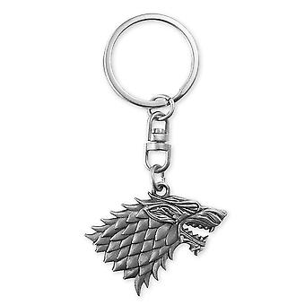 Game of Thrones Keychain coat of arms heavy Keychain, silver, heavy duty metal.