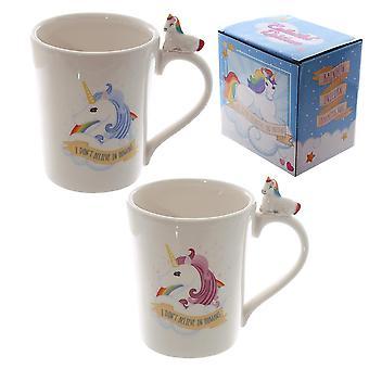 Einhorn Tasse 2er Set I DON'T BELIEVE IN HUMANS weiß, bedruckt in multicolor, aus Keramik, in Geschenkbox.