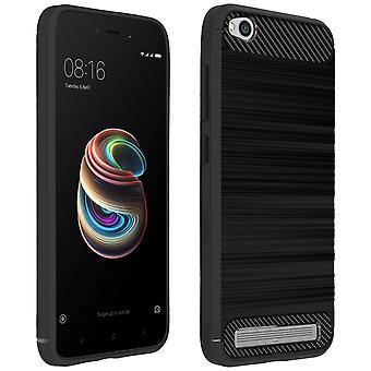 Cas de carbone fibre bouclier, couvercle en aluminium effet pour Xiaomi Redmi 5 a - noir