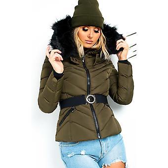 IKRUSH женские Lina мягкий искусственный мех капот опоясанные куртки