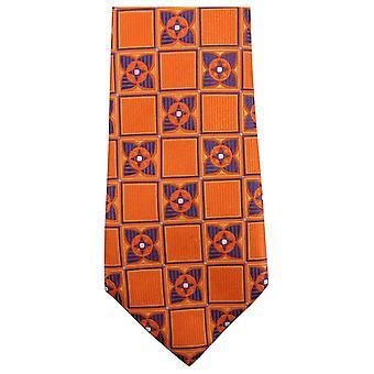Knightsbridge Neckwear Square Flower Tie - Orange/Navy
