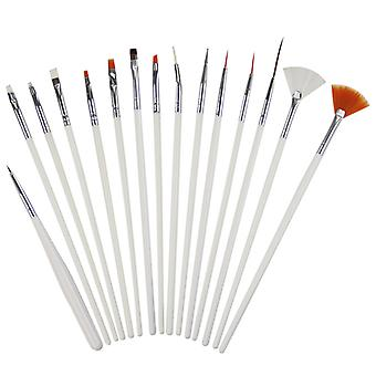 15pcs Nail Art Design Painting Drawing Dotting Pen Brush DIY Tool Set (White)