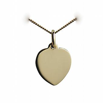 18ct Gold 16x14mm plain heart Disc with a curb Chain 16 inches Only Suitable for Children