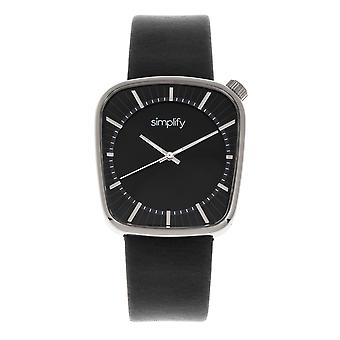 Simplify The 6800 Leather-Band Watch - Silver/Black