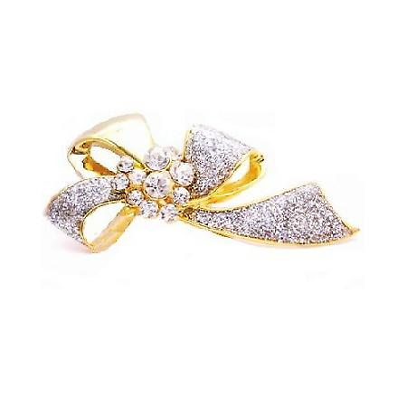 Wedding Dress Brooch Desinged Bow Brooch Gold with Diamonds Brooch