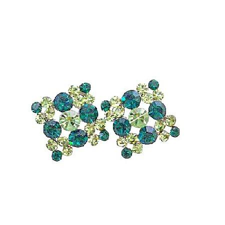 Fabulous Gorgeous Piece Peridot Crystals Stud Pierced Earrings