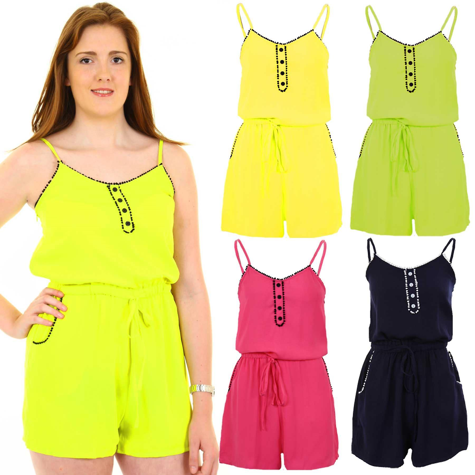 Ladies Button Stitched Front Edging Gathered Tie Waist Women's Summer Playsuit