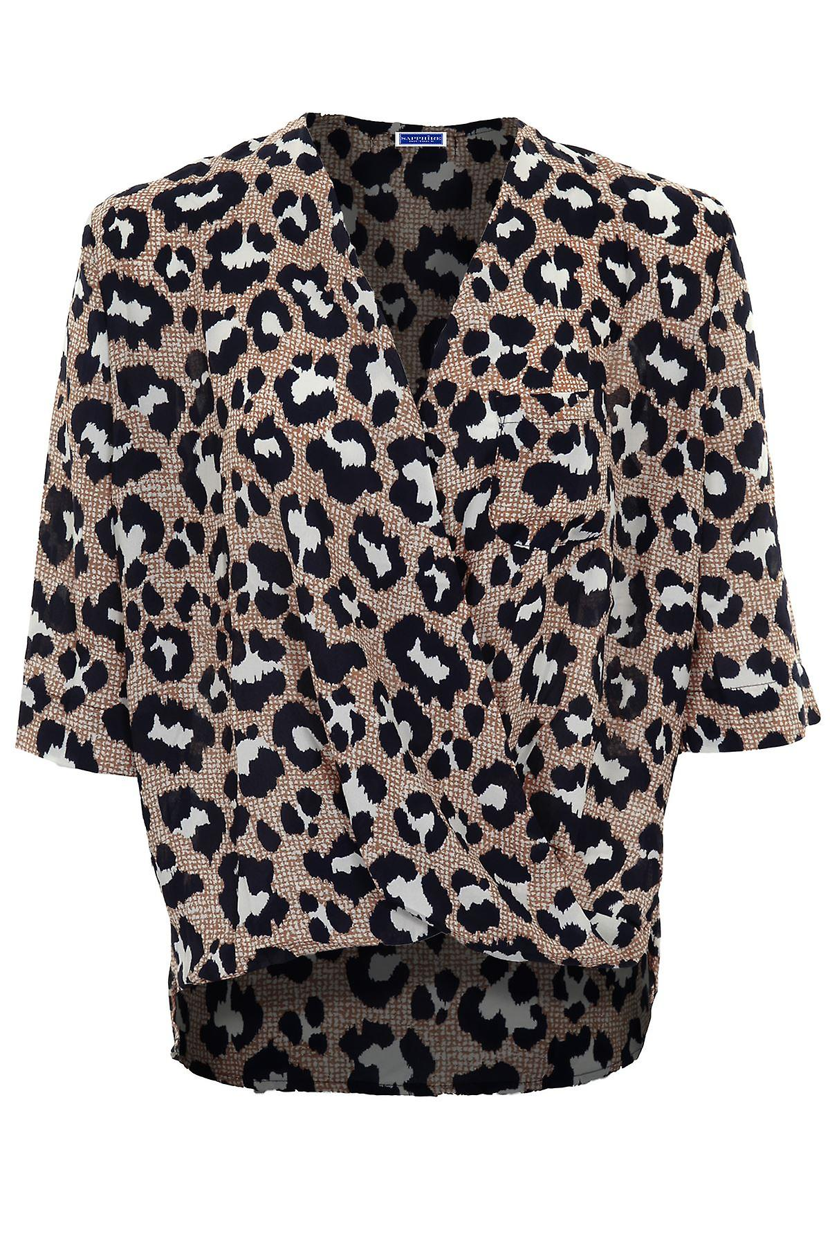 Ladies Open Front Wrap V Neck 3/4 Sleeve Leopard Loose Chiffon Blouse Top