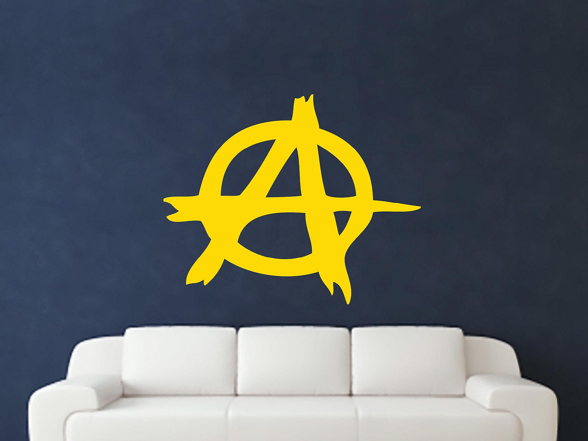 Anarchy Symbol Wall Art Sticker - Dark Yellow