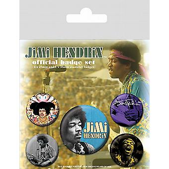 Jimi Hendrix 5 round Pin Badges in Pack (py)