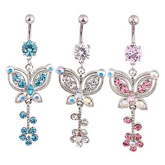 Navel piercing diamond Butterfly