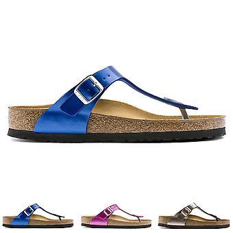 Naisten Birkenstock Gizeh metallinen Birko-Flor Toe Post Beach solki sandaalit