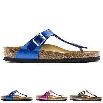 Womens Birkenstock Gizeh Metallic Birko-Flor Toe Post Beach Buckle Sandal