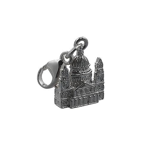 Silver 11x10mm solid St. Paul's Cathedral Charm on a lobster trigger