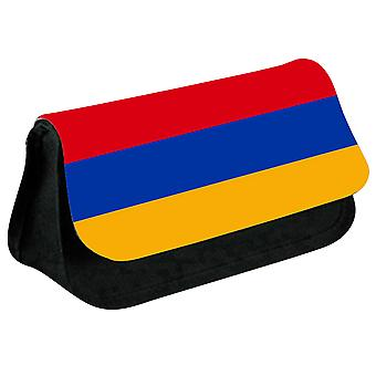 Armenia Flag Printed Design Pencil Case for Stationary/Cosmetic - 0008 (Black) by i-Tronixs