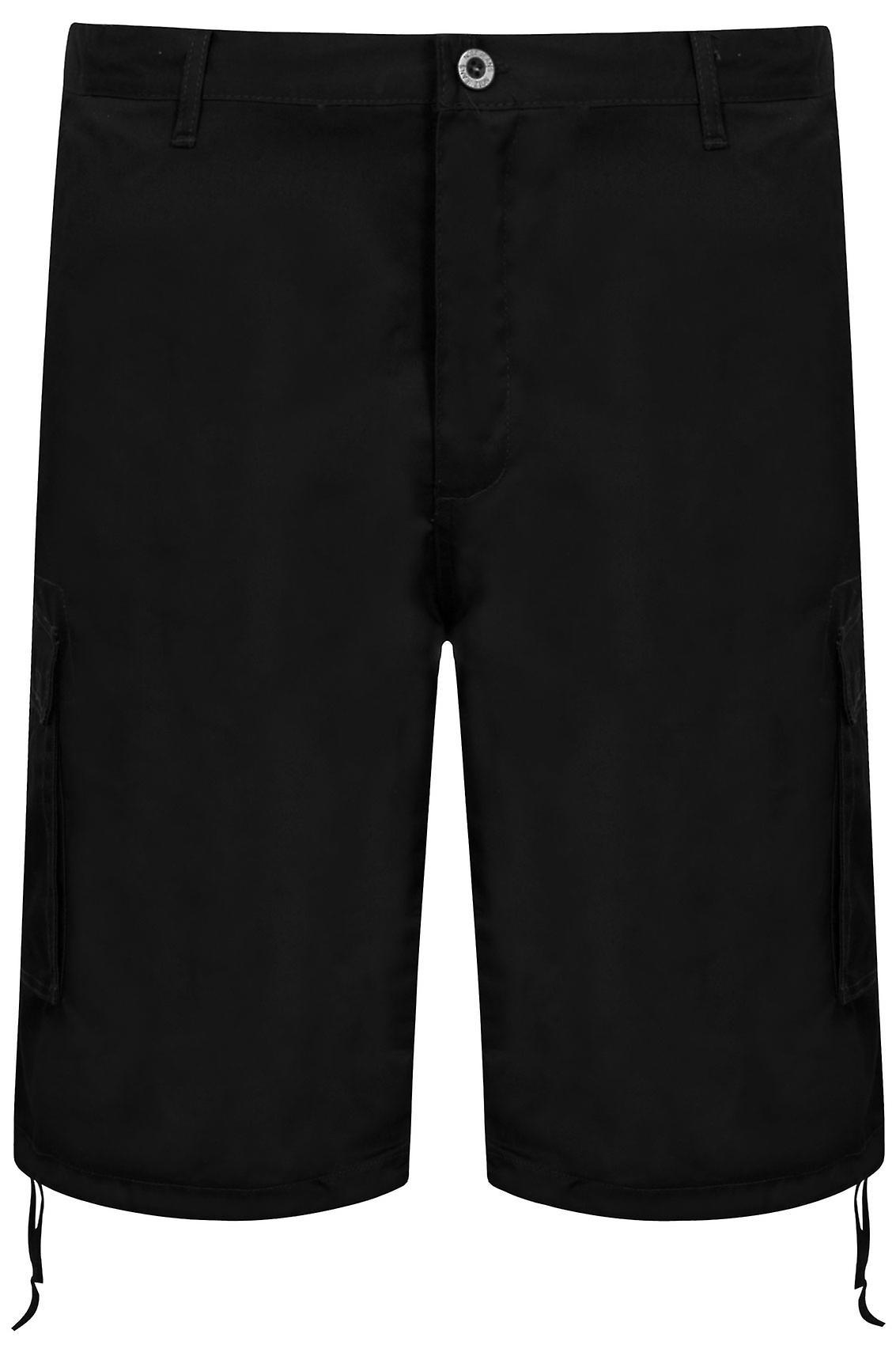 NOIZ Black Cotton Cargo Shorts With Pockets
