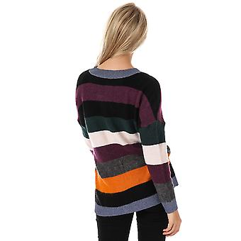 Womens Only Rainbow V-Neck Jumper In Black