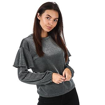 Womens Only Tinsel Long Sleeve Top In Silver