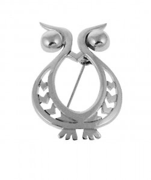 Cavendish French Sterling Silver Beady Eyed Owl Brooch