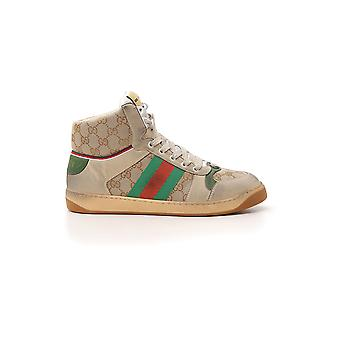 Gucci Beige Leather Hi Top Sneakers