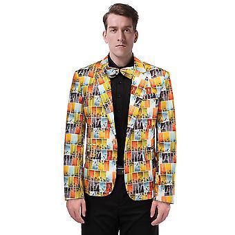Allthemen mäns Blazer orange Pläden Stage Dress Party kostym jacka