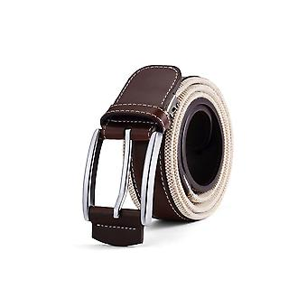 Mens Classic Fabric Ribbed Contrast Brown Belt 35mm