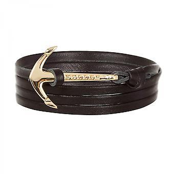 Holler Mosley  Gold Polished Anchor / Black Leather Bracelet HLB-02GDP-L13