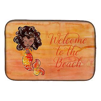 Carolines trésors BB8517DDM sirène Bienvenue Orange plat Mat de séchage