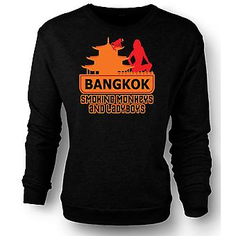 Womens Sweatshirt Bangkok - Smoking Monkeys And Ladyboys - Quote