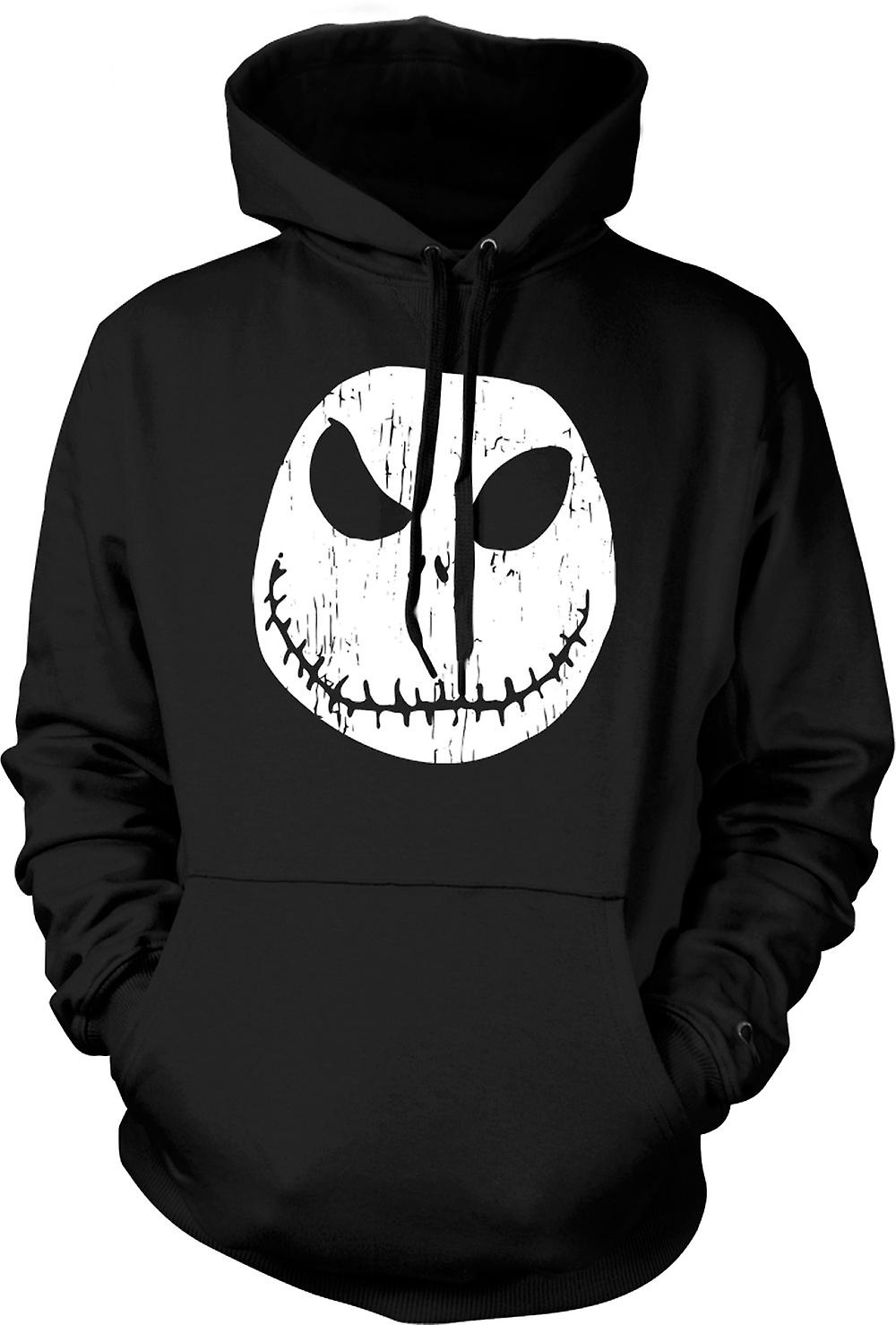 Mens Hoodie - Scary Halloween Pumpkin - Smiley Face
