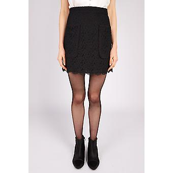 Joy Luana Lace Pocket Detail Skirt Black