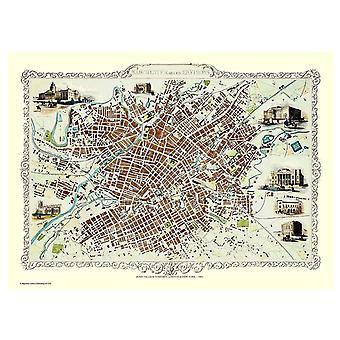 History Portal Manchester 1851 Map John Tallis 1000 Piece Jigsaw 690mm x 480mm (jg)